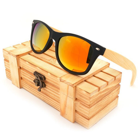 Colorful Polarized Square Sunglasses, Bamboo & Plastic Frame