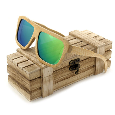 G003-1 Bamboo Green Square Sunglasses
