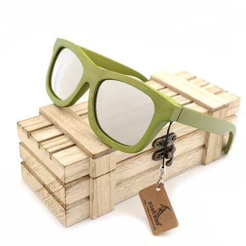 Green Bamboo Design  Spectacle Frame Silvery Lens Sunglasses