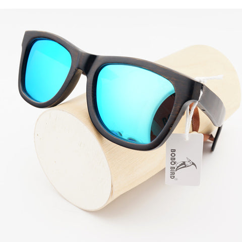 Vintage Design  Bamboo Sunglasses With Bule Polarized
