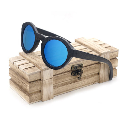 Blue and green bamboo vintage sun glasses