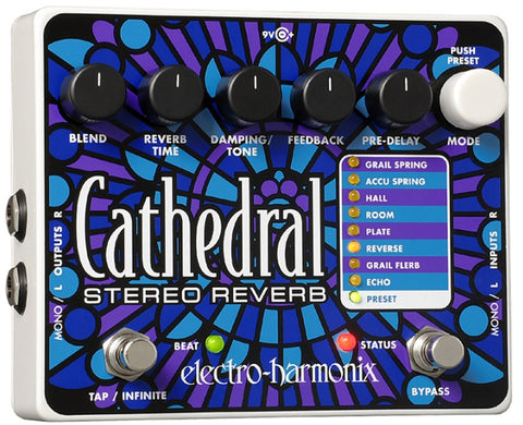 Electro-Harmonix Cathedral Stereo Reverb EHX Guitar Effects Pedal