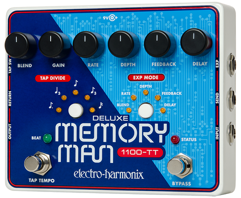 Electro-Harmonix Deluxe Memory Man 1100-TT Tap Tempo Analog Delay EHX Guitar Effects Pedal
