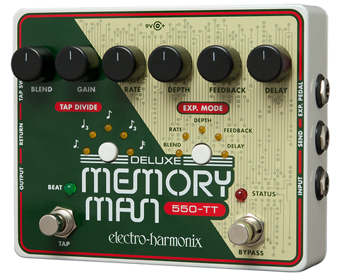 Electro-Harmonix Deluxe Memory Man 550-TT Tap Tempo Analog Delay EHX Guitar Effects Pedal , Pedals, Electro-Harmonix, Texas Guitar Ranch - Texas Guitar Ranch