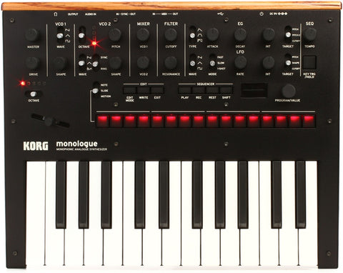 Korg monologue Analog Synthesizer - Black 25-key Monophonic Analog Synthesizer, with 2 VCOs, 1 VCF, 1 EG, 1 LFO, and 16-step Sequencer