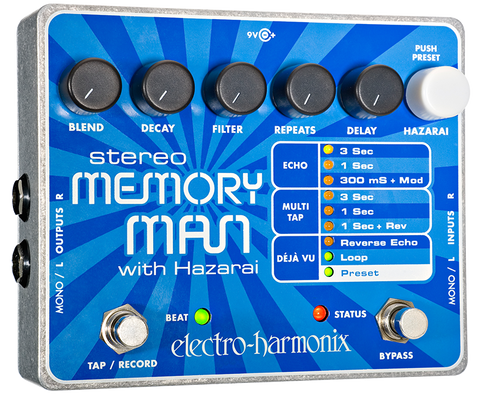 Electro-Harmonix Stereo Memory Man with Hazarai Digital Delay Looper EHX Guitar Effects Pedal , Pedals, Electro-Harmonix, Texas Guitar Ranch - Texas Guitar Ranch