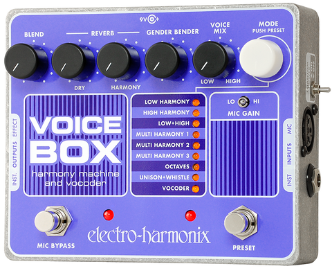 Electro-Harmonix Voice Box Vocal Harmony Machine Vocoder Vocal Effects EHX Guitar Effects Pedal