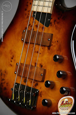 MTD Kingston Z4 4 String Bass Guitar Tobacco Sunburst Finish - Burled Maple Top - Maple Fingerboard , Bass Guitars, MTD, Texas Guitar Ranch - Texas Guitar Ranch