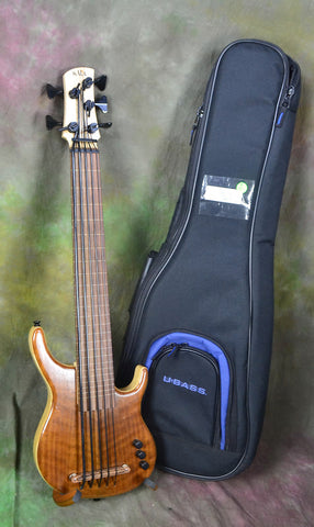 Kala Walnut Top U-bass 5 String Fretless KA-SB5FL-WLNT Ubass USA Custom Shop NAMM Demo