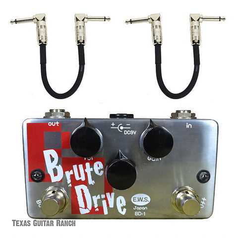 E.W.S. Brute Drive Overdrive with Free Patch Cables Guitar Effects Pedal
