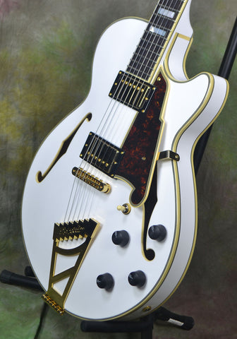 D'Angelico EX-SS White Semi Hollow Single Cutaway Electric Guitar