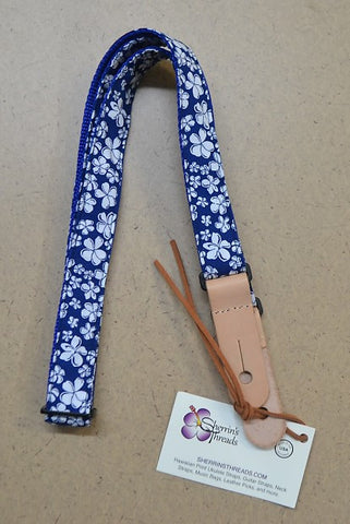 Sherrin's Threads Blue Hibiscus Ukulele Strap - 1 Wide , Accessories, Sherrin's Threads, Texas Guitar Ranch - Texas Guitar Ranch