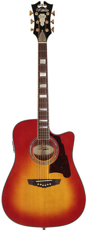 D'Angelico SD-400 Brooklyn Dreadnaught Acoustic Guitar Cherry Burst Solid Sapele Hard Case EQ
