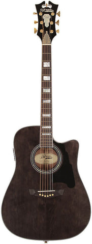 D'Angelico SD-400 Brooklyn Dreadnaught Acoustic Guitar Grey Black Solid Sapele Hard Case EQ