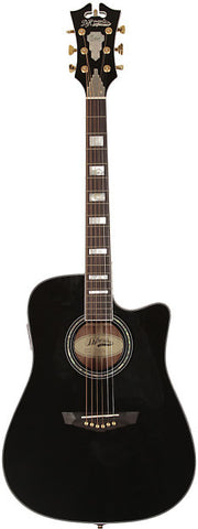 D'Angelico SD-400 Brooklyn Dreadnaught Acoustic Guitar Black Solid Sapele Hard Case EQ