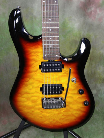 Sterling By Music Man SBMM JP100-3TS John Petrucci Quilted Tobacco Sunburst Electric Guitar SG21995
