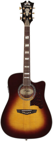 D'Angelico SD-400 Brooklyn Dreadnaught Acoustic Guitar Vintage Sunburst Solid Sapele Hard Case EQ