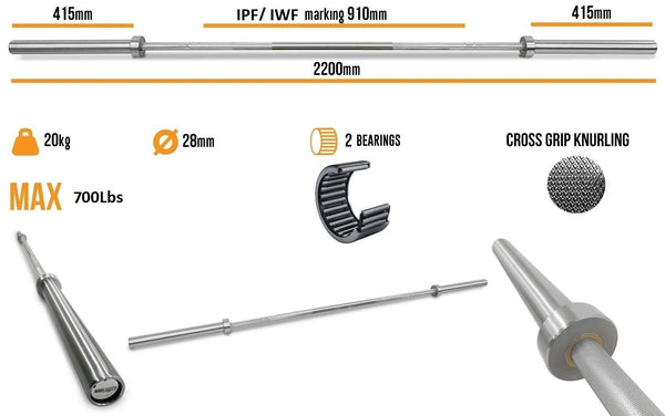 Body Iron 7ft Olympic Barbell 700LBS specifications