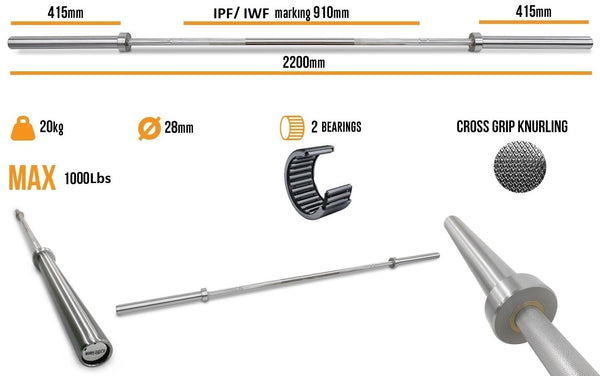 Body Iron 7ft Olympic Barbell 1000LBS specifications