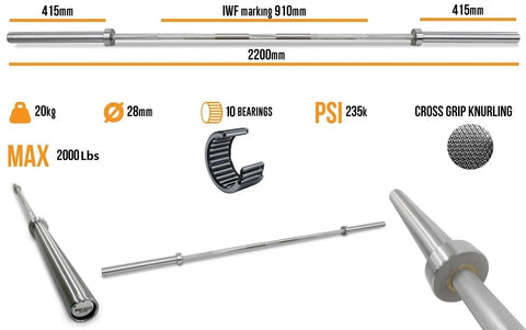 Body Iron Slate Barbell specifications