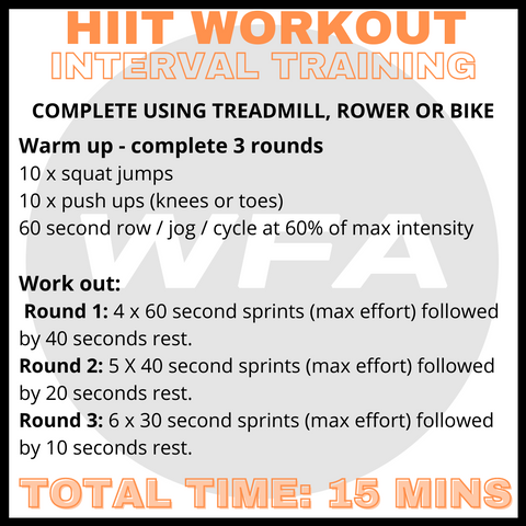 HIIT workout using rowing machine, exercise bike or treadmill.