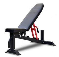 Black and red adjustable weight bench