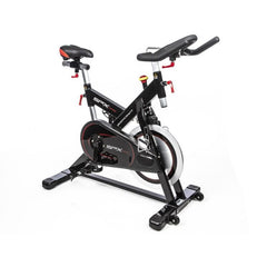 Black red and yellow stationary spin bike