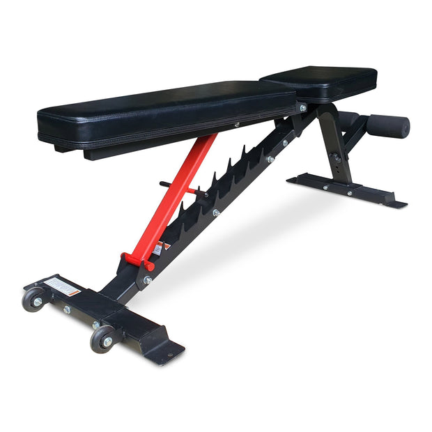 Ladder catch system on adjustable weight bench
