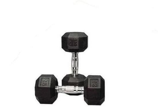 25 kg Body Iron Commercial Rubber Hex Dumbbell Pair