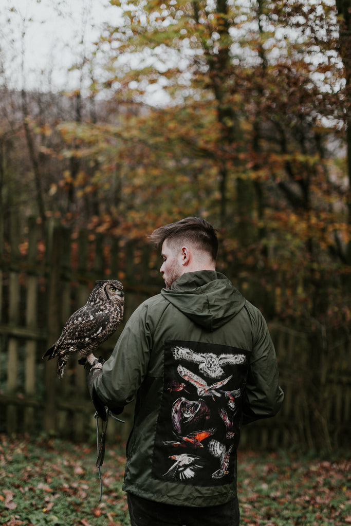 "Wild Minds x Ebbw Vale ""Birds of Prey"" Windbreaker Army Green"