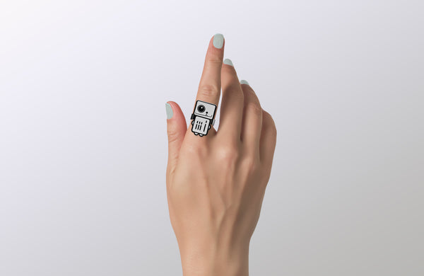 Moondust - White Robot Ring - ROBOTA PROJECT