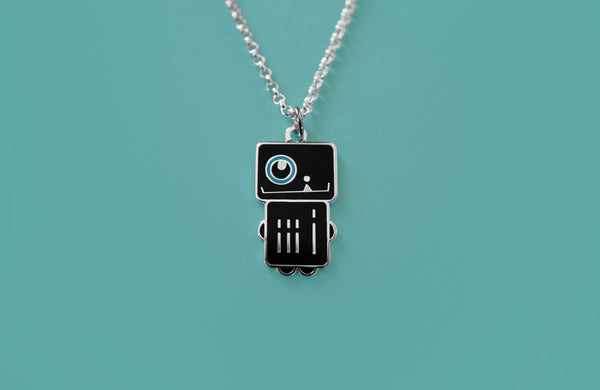 "Robot Boy Charm Necklace in Black and Blue Enamel ""Phantom Robota"""