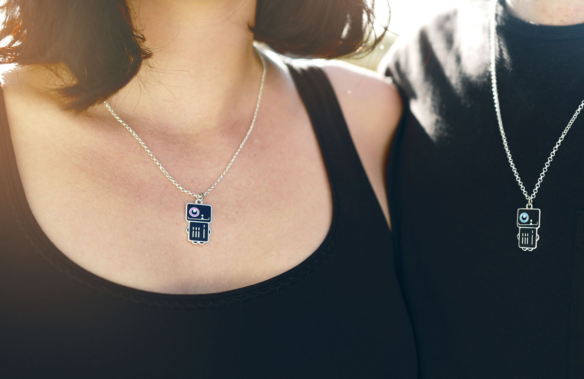 ROBOT BOY and ROBOT GIRL NECKLACE PAIR