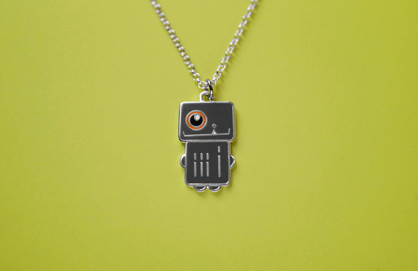 "Robot Necklace in Dark Gray and Orange Enamel ""Spacecraft Robota"""