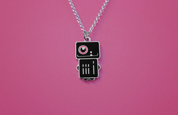 "Robot Girl Charm Necklace in Black and Pink Enamel ""Astra Robota"""