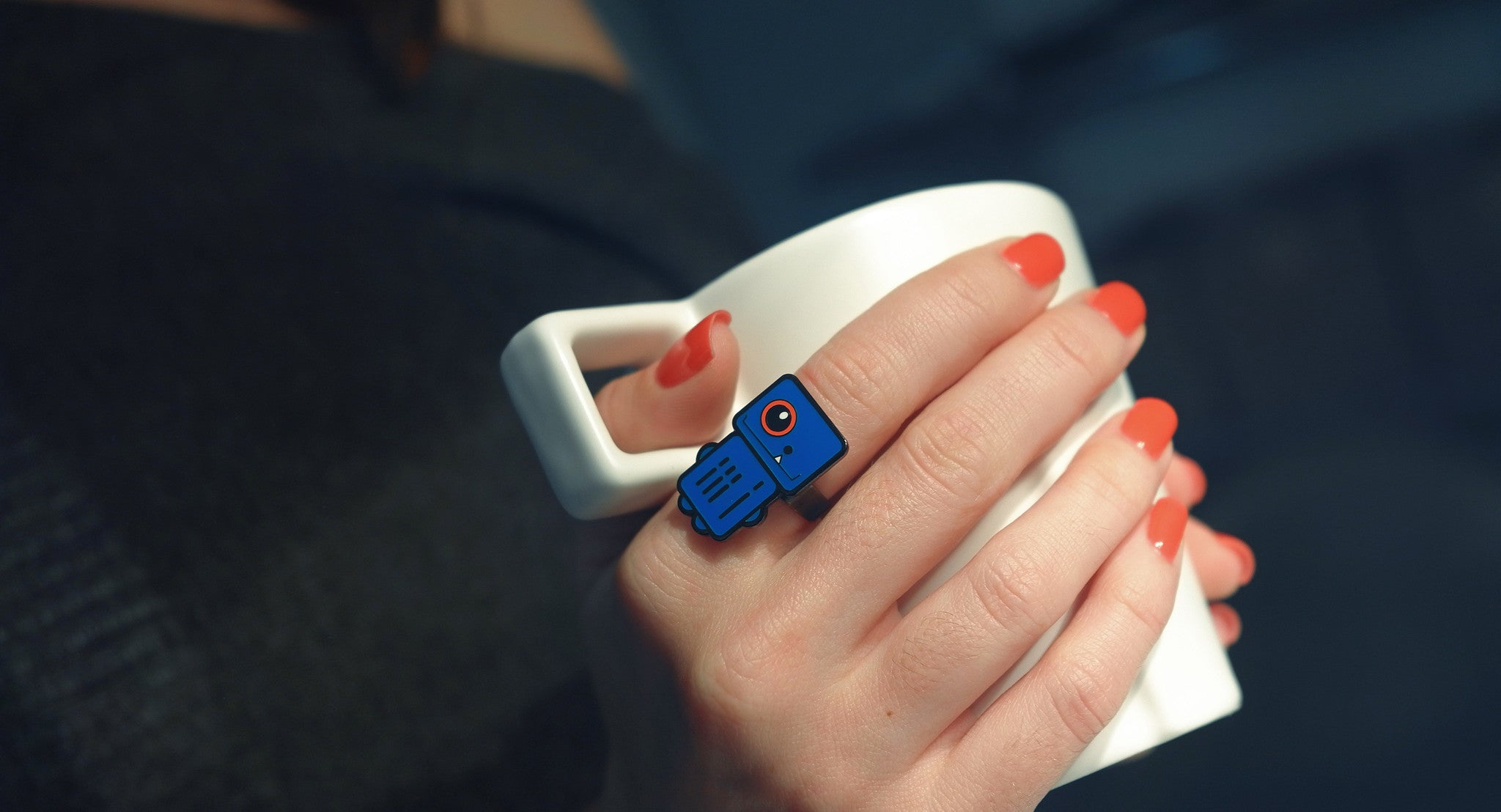 Sonic Blue - Blue Robot Ring - Coffee - ROBOTA PROJECT
