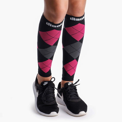 Pink Argyle Graduated Calf Compression Sleeves