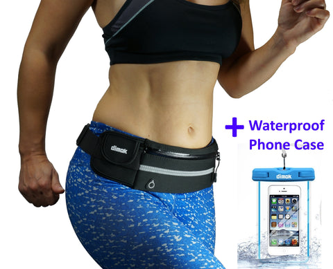 dimok Running Belt Waist Pack Waterproof Phone Case -  Water Resistant Runners Belt Fanny Pack for Hiking Fitness – Adjustable Running Pouch for Phones iPhone Android