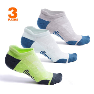 Athletic Running Socks - No Show Blister Resistant Sport Socks for Men and Women - 3 Pairs - Dimok