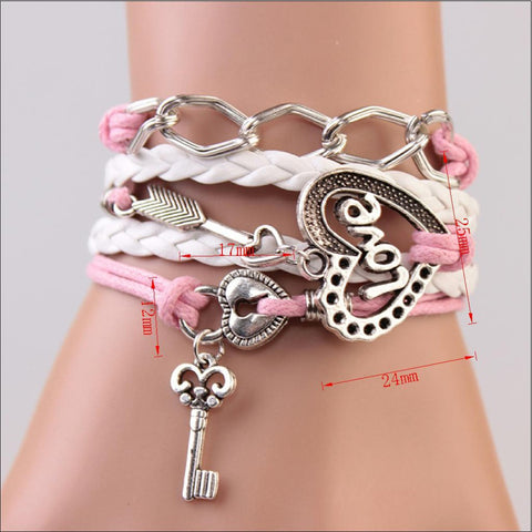 Striking Leather Charm Bracelet In Various Colors and Styles