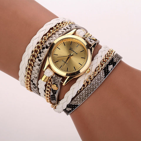 Captivating Leather Leopard Watch Bracelet