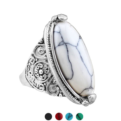 Antique Tibetan Silver Plated Semi Precious Oval Stone Ring In Various Colors