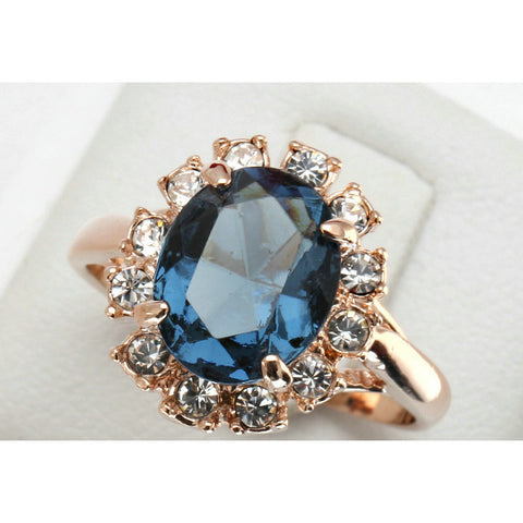 18K Rose Gold Plated CZ Sapphire Ring