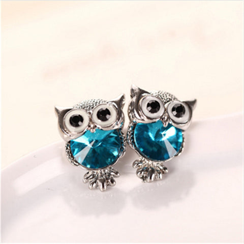 Crystal White Gold Plated Owl Stud Earrings