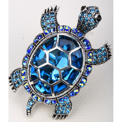 Big Antique Crystal Turtle Stretch Ring