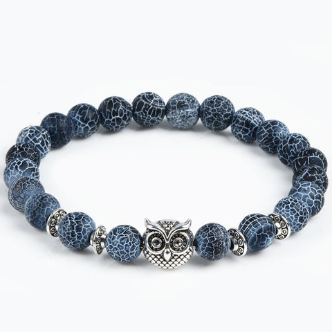 Natural Stone Bracelet With Leopard Owl And Lion Head Charm