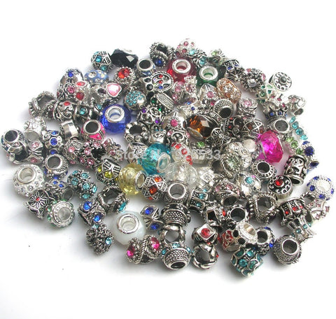 50pcs Mix Color & Style Rhinestone Charms ( Fit Pandora and Chamilia Bracelet )