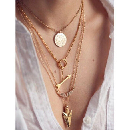 24K Gold Plated 4 Layer Arrow Charm Gold Pendant Necklace