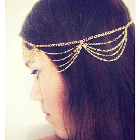 Gold Plated Multi Layer Hair Chain