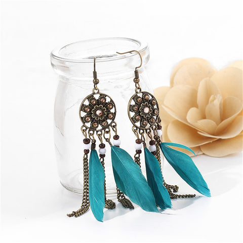 Captivating Gold Plated Crystal Dream Catcher Feather Earrings
